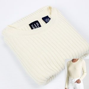 GAP Ribbed Crew Neck Pull Over Sweater White *X199